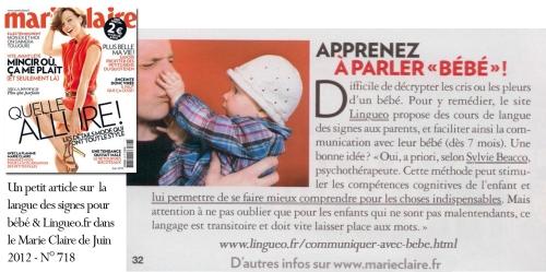 La langue des signes pour bébé dans MarieClaire